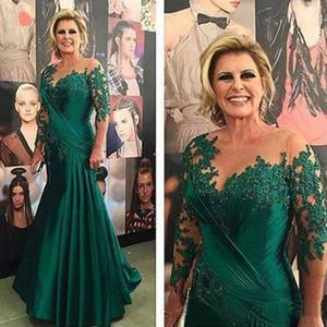 Темно-зеленый Русалка мать невесты Платья иллюзия 3/4 с длинным рукавом аппликации атласная Ruched плюс размер вечернее платье мать невесты платье