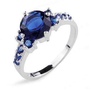 Exclusivo Blue Sapphire Lady's 10KT anillos rellenos de oro blanco sz6 / 7/8/9