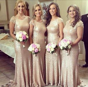 Champagne Vestidos de dama de honor 2016 Mermaid Gold Lentejuelas Bling Cap manga Escote redondo Ajuste y llamarada Vestido de noche Fiesta Vestidos formales