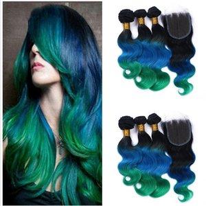 레이스 폐쇄 1b와 바디 웨이브 Ombre 머리 파란 녹색 인간의 브라질 버진 헤어 레이스 폐쇄 번들 4pcs / lot