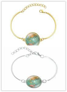 10 stücke Kreative Globus Karte Armbänder Armreifen Planet Erde Weltkarte Kunst Glaskuppel Silber Schmuck Charme Armband für frauen / Kinder können auswählen