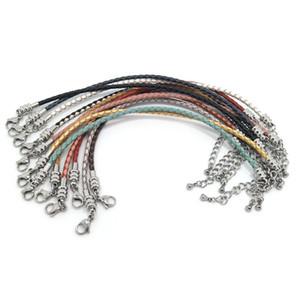 Nuove donne e uomini in acciaio inox aragosta chiusura 16-25 cm moda reale treccia gioielli in pelle bovina catene europeo fai da te braccialetto mix colore