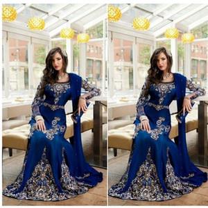 Royal Blue Luxury Crystal musulmán árabe vestidos de noche apliques de encaje Abaya Dubai Kaftan largo más tamaño formal Celebrity vestidos BA0718
