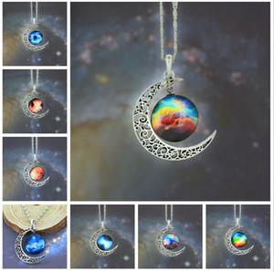 12 colores de la luna de la vendimia collar Luna estrellada espacio ultraterrestre collares de piedras preciosas del Universo colgantes joyería de cadena accesorios para niños 48 unids / lote