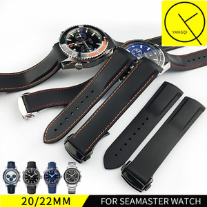 Cinturini 22mm Cinturini per orologi Uomini Blu Nero Cinturini in gomma siliconica impermeabile Cinturino fibbia per Omega Planet-Ocean + Strumenti