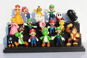18 adet = 1 takım Süper Mario Bros PVC Action Figure Oyuncaklar SuperMario Bebekler Yoshi Luigi PVC Oyuncaklar Süsler