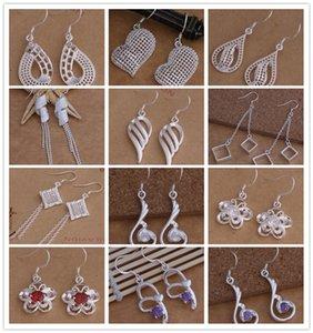 L'ordine misto 12pair / lot 925 argento ciondola gli orecchini con i monili di modo di zircon per il regalo di nozze delle donne Trasporto libero superiore di qualità