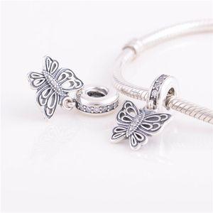 925 ALE Sterling Silver Bracciali Pandora Perline gioielli farfalla ciondola il pendente di cristallo fascino tallone, misura il braccialetto europeo di fascino per le donne
