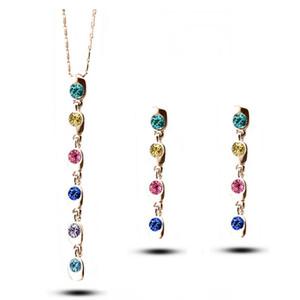 Il più nuovo modello nappe collana lunga orecchini 18kgp gioielli ciondolo in lega per le donne migliori set di gioielli 1426