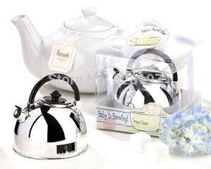 1pcs Gift Box + 60 minuti Timer da cucina allarme meccanico Mini teiera a forma di clock timer di conteggio fredda nozze regali favore