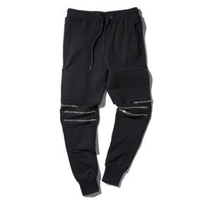 Wholesale-Streetwear Black Joggers Knee Zipper Pleated Hip Hop Sweatpants For Men Casual Biker Jogging Pants Men Skateboard Pants Q1455