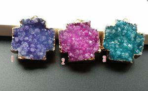 3 Adet / grup Doğa Druzy Geode Kuvars, Kristal Drusy Gem Ametist Akik taş Çapraz Boyalı Renkler DIY Kolye, Charm Takı yapımı SB10-12
