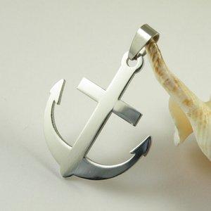Venta al por mayor 12 unids Sailor estilo de acero inoxidable ancla colgante collar de cadena de plata regalo MN02