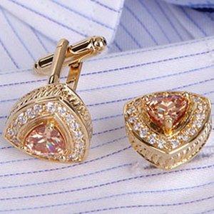 Or rose Zircon Clear Stone Gem Rhinestone Cufflink Cuff Link 4 Pairs En Gros Livraison Gratuite
