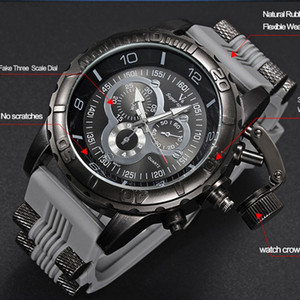 Мужские часы 2018 Новый V6 Super Speed Силиконовый Кварцевый 3D поверхность Мужской Час Часы Аналоговый Военный Большой Циферблат Спорт Man Watch