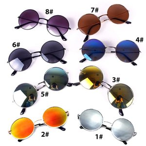 Wholesale-Women Hippie Shades Metal Peace Sunglasses Classic Round Lens Reflective #69489