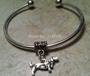 DACHSHUND DOG Copper Good Luck Charms Bracelet &Bangle 10 PCS Wholesale Vintage Silver For Woman Dress Brand DIY Jewelry L493