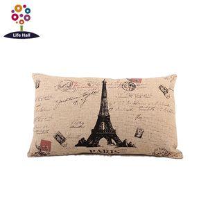En gros- [2 pcs / lot] Euro style imprimer Eco-Fashion Boster Case qualité lin coton couverture d'oreiller au détail, en gros