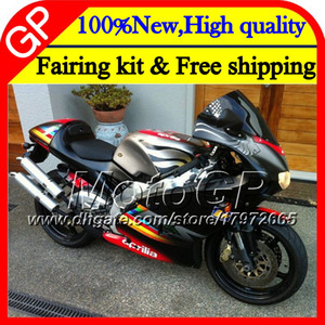 Кузов для Aprilia черный серебристый RS4 RS125 99 00 01 02 03 04 05 RS-125 4GP14 RSV125 R RS 125 1999 2000 2001 2002 2003 2005 обтекатель мотоцикла