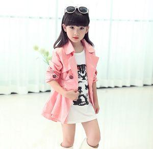Big Girls Turn Down Collar Double-breasted Belt Tench Coat Children Clothing Kids Wind Coat Kid Jacket Outwear Clothes Beige Pink K4683