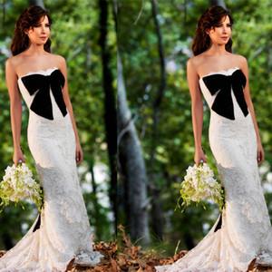 Vestidos de novia con vaina de encaje blanco Nancy Ajram Vestidos de fiesta formales árabes Vestidos de novia musulmanes con lazo negro grande Sin tirantes por encargo