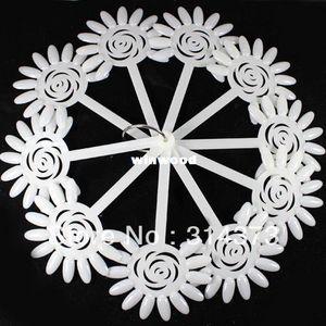 Commercio all'ingrosso - Ivory Rose Flower Shape Fan Board Chart Suggerimenti falsi Stick Salon Nail Art Design fai da te Polacco Display pieghevole strumento di pratica