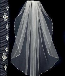 2019 Nuovo design corti veli da sposa con perline Pinterest popolare bianco / avorio veli economici da sposa uno strato di pizzo velo da sposa