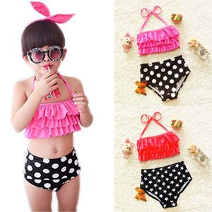 Moda niños traje de baño bebé niñas bikini traje de baño lunares encantador halter volante traje de baño + calzoncillos 2pcs kids beach traje de baño A7275