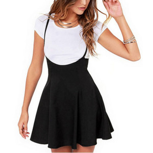 Wholesale- Women Black Skirt with Shoulder Straps Pleated Skirt Suspender Skirts High Waist Mini School Skirt