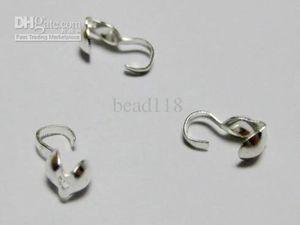 Heiße Angebote ! 500 Stück versilbert Perle Tipps Ende Crimps 4mm DIY Schmuck