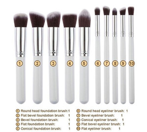 10pcs Spazzole di trucco 10pcs Pennello cosmetico professionale Kit in nylon per capelli Manico in legno Ombretto per fondotinta