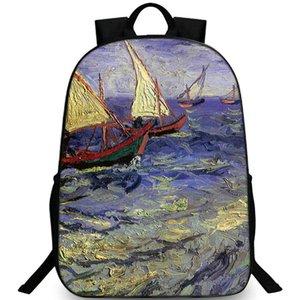 Рыбалка Boad на Сент-Мари-де-пляж рюкзак Ван Гога рюкзака Картина Schoolbag ДОСУГ рюкзака Спортивная школа сумка Открытый день пакет
