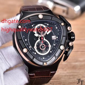 Cronógrafo de moda Triangle Watch Hombres Dial Lamborghini Anniversary VK Quartz Chronograph Working Sport Racing Car 18k Rose Gold Leathe