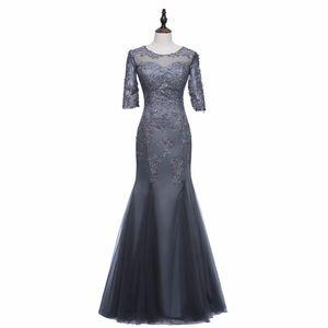 3/4 рукав серый Атлас и тюль Русалка мать невесты платье с кружевными аппликациями Zip обратно женщины банкетное платье