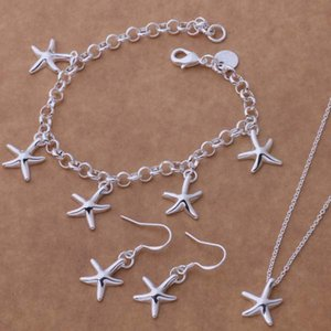 925 Silver Starfish Jewelry Sets Including Earring Bracelet Necklace Fine Jewelry For Wedding Party Free Shipping