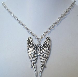 Vintage Silver DOUBLE ANGEL WINGS Charms Statement Chain Choker Pendant&Necklaces For Woman Clothing Jewelry Gifts Accessories 10pcs Q599