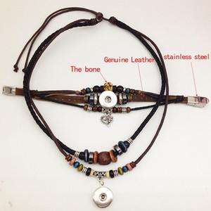 Echtes Leder Druckknopf Halskette Druckknopf Armband (fit 18mm 20mm Snap) TP611 Noosa Snap Chunk Schmuck