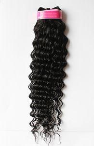 6A 22inch 24inch 1 pcs 95-100g trama de onda profunda Indiano brasileiro virgem peruano cabelo Natural cor extensões de Cabelo Humano frete grátis