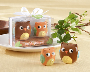 Party favors 200pcs = 100set / lot Owl Always Love you Sal y pimienta de cerámica Shakers baby shower Favores de la boda