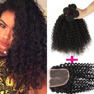 8a top quality brasileiro kinky curly virgem cabelo 3 pacotes com 1 lace closure brasileiro peruano malaio mongol encaracolado cabelo virgem
