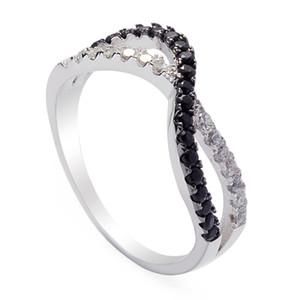 925 sterling silver para as mulheres Anéis Branco e Preto Cubic Zirconia Nobre Generoso S-3745 sz # 7 8 9 Mais Vendidos Tempo limitado desconto Rock