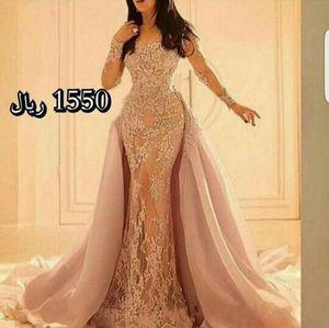 2020 Nuevo Manga Larga vestidos de noche de encaje con falda de sirena de organza en la ilusión falda de hendidura y mangas transparentes completa 232