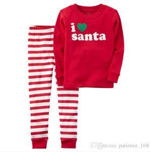 INS Горячие продажи европейских и американских новый стиль Дети одежды Рождество мультфильм письмо Печать Блуза + брюки полоса наборы бесплатная доставка
