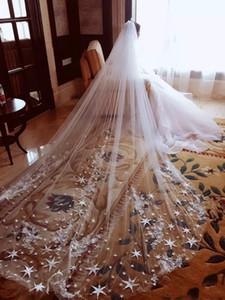 Longueur De La Cathédrale Longue Voile De Mariage Voile De Mariée Deux Couches 3M Longueur Étoile Applique Voile De Mariage Avec Peigne