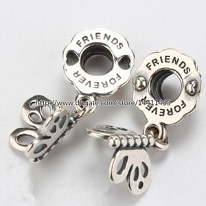 Haute qualité 100% 925 Sterling Silver Best Friends Forever Papillon Dangle Charme Perle Convient Bijoux Européens Bracelets Colliers