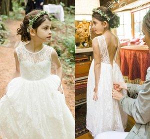 Romantico nuovo arrivo Boho paese Flower Girl Abiti per matrimoni economici pizzo Tiered Formal Pageant Wedding Formal Dress Custom Made