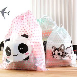 Venta al por mayor- Bolsa de almacenamiento de viaje de dibujos animados Queso Gato Panda Polka Dot Ropa impermeable Bolso con cordón Ropa de almacenamiento Servilletas sanitarias
