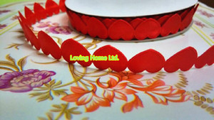Wholesale-20 Yards Roll Red 1.5cm Puffy Heart Shape Scrapbooking Hair Bow Maker Crafts Garland Ribbons Trim Candy Boxes Gift Wrap Roll