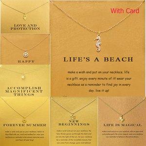 Vente chaude Dogeared Heart Anchor Hexagram Or Alliage Clavicule Chaîne Pendentif Colliers Nouvelle Mode Bijoux Pour Femmes avec Carte