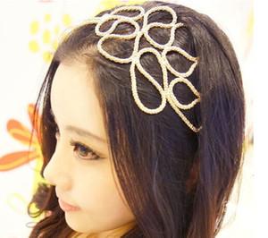 2015 descuento grande mujeres libres del envío Ahueca hacia fuera la venda de la cabeza del oro trenzada Stretch Hair Accessories Gossip Girl en la acción